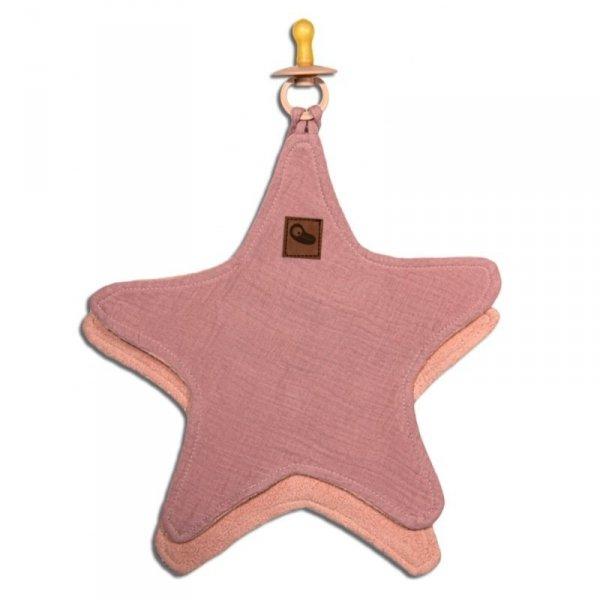 Hi Little One - Przytulanka muślinowa dou dou z zawieszką na smoczek cozy muslin pacifier clip Star Blush