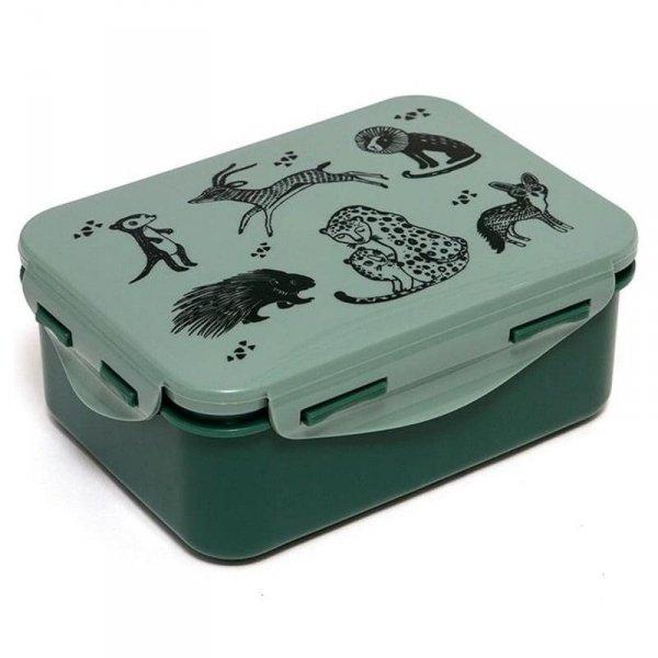 Petit Monkey - Śniadaniówka Lunchbox Black Animals Salie