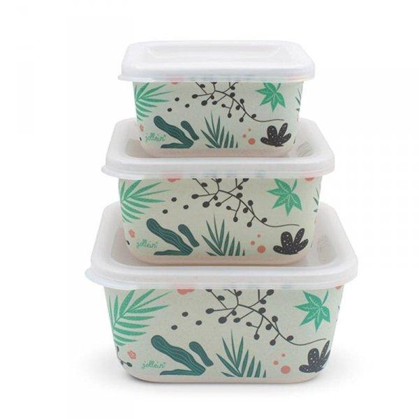 3 śniadaniówki EKO Lunchbox - Leaves