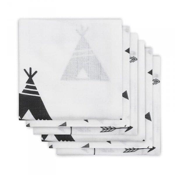 Pieluszek niemowlęcych Hydrophlic 70 x 70 cm Indians Black and White -Jollein - 6szt.