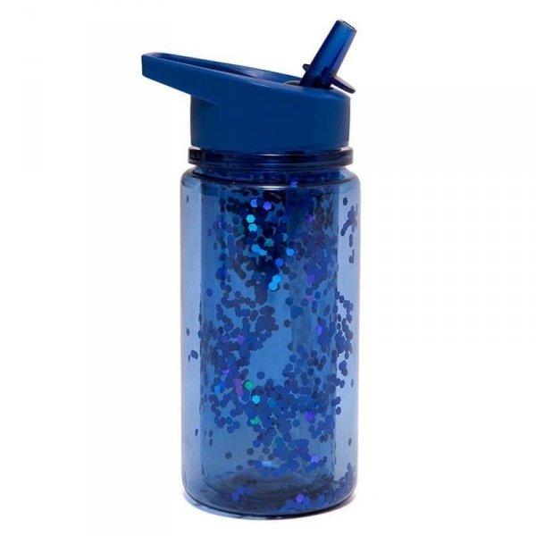 Bidon transparentny ze składanym ustnikiem dla chłopczyka GLITTER Night Blue - Petit Monkey