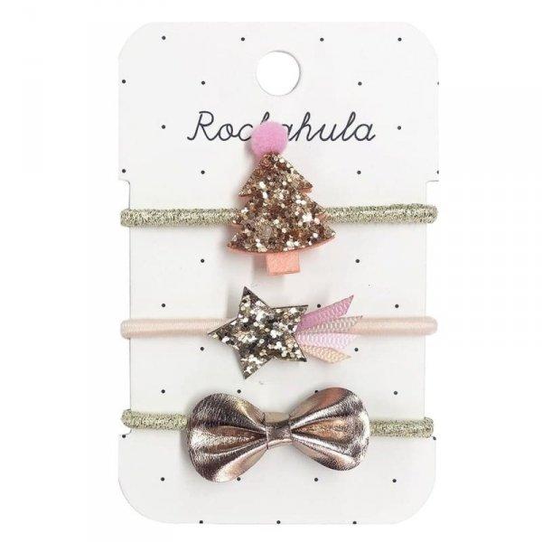 Gumki do włosów dla dziewczynki - Rockahula Kids -  Rose Gold XMAS TREE