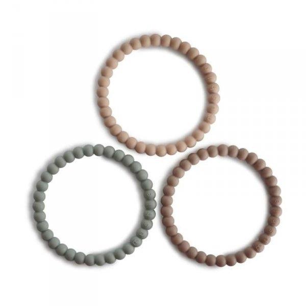 Silikonowe bransoletki gryzaki dla dziecka PERŁA Clary Sage Tuscany Desert Sand - Mushie - 3szt.