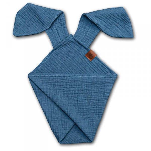 Pieluszka dla niemowląt dou dou uszami królika z organicznej BIO bawełny GOTS cozy muslin with ears 2in1 Jeans - Hi Little One