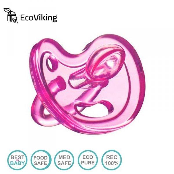 Eco Viking Anatomiczny Smoczek Uspokajający SiliMed Pink wiek 6m+