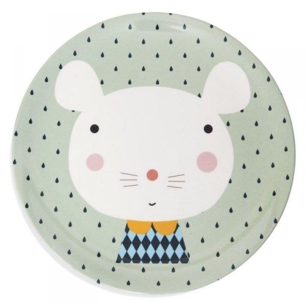 Talerz płaski z melaminy -  Myszka i Kropki
