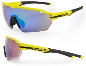 Okulary ACCENT Reflex żółte fluo, soczewki PC: niebiesko-zielone lustrzane, przezroczyste