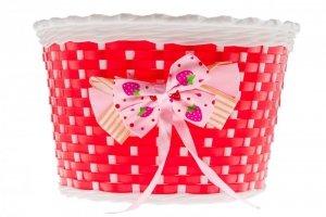 Koszyk na kierownicę dziecięcy plastikowy czerwono-biały z kokardą BK20