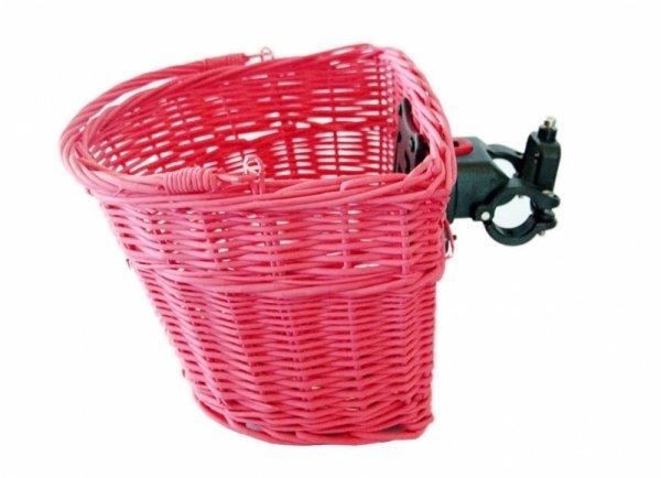 Koszyk na kierownicę wiklinowy na KLIP, różowy