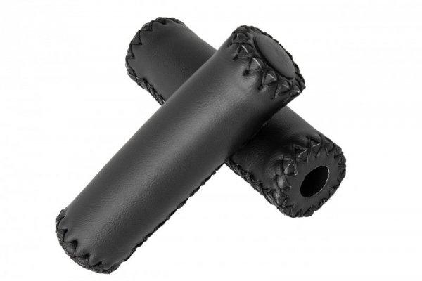 Chwyty kier. VINTAGE RETRO eco skóra 120mm szyte nicią, czarne