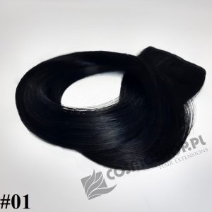 KUCYK CLIP IN- GŁĘBOKA CZERŃ #01, 30 cm