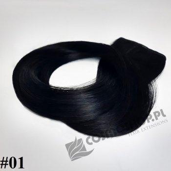 Zestaw Clip-in, długość 45 cm kolor #01 - GŁĘBOKA CZERŃ 150g