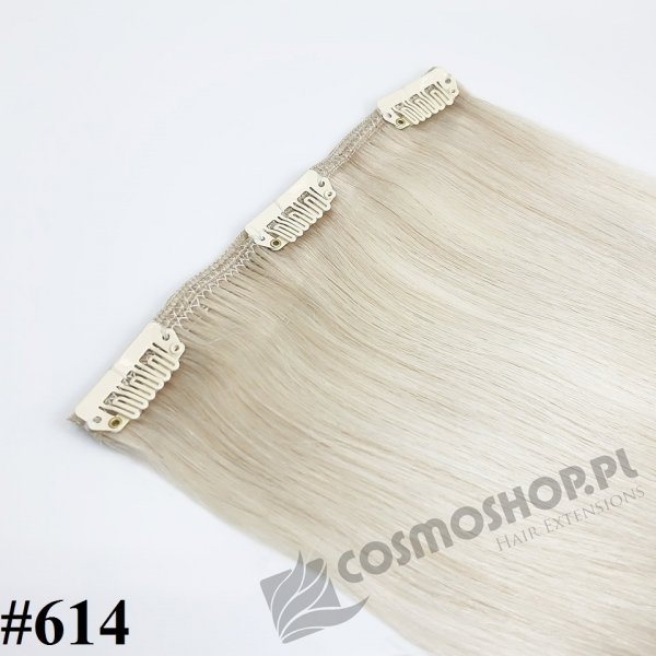 Pasmo Clip-in, długość 40 cm kolor #614 -BARDZO JASNY POPIELATY BLOND