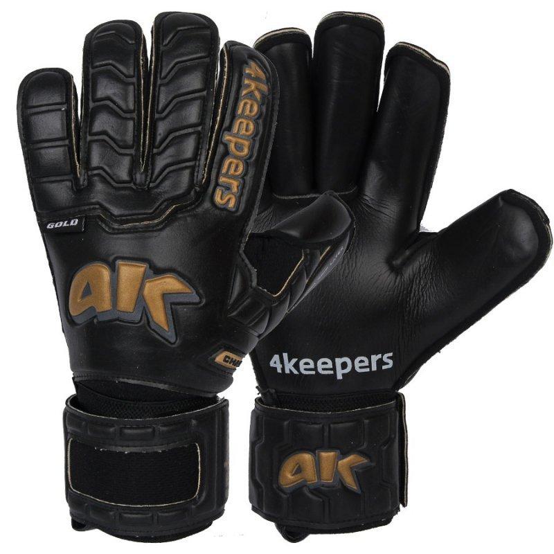 Rękawice 4keepers Champ Black Gold IV RF + płyn czyszczący czarny 9,5