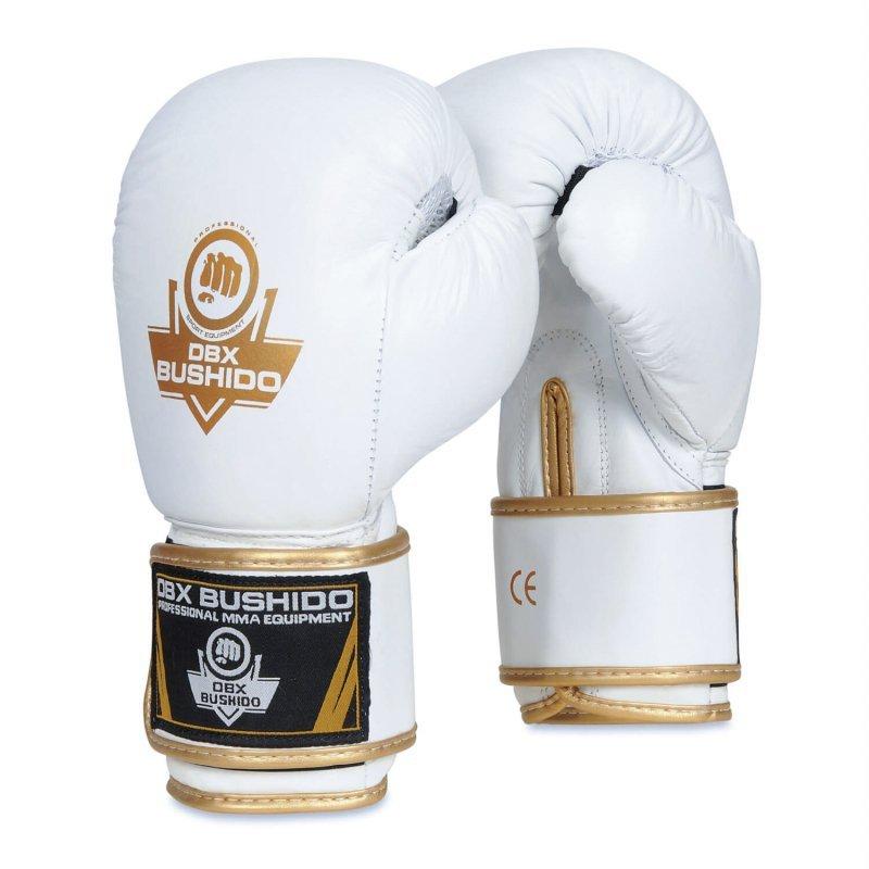 Rękawice bokserskie ze skórny naturalnej - BUSHIDO - Białe - 14 OZ