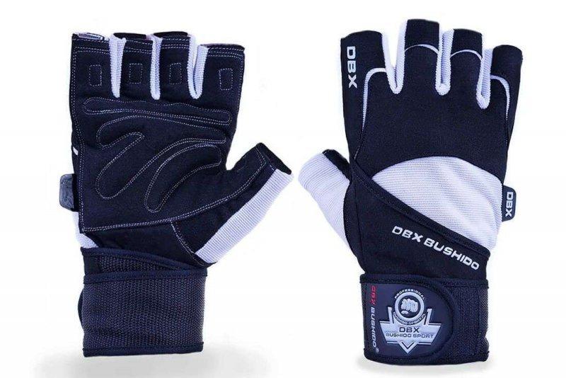 Rękawiczki na siłownię z usztywnieniem nadgarstka DBX BUSHIDO Czarno Białe