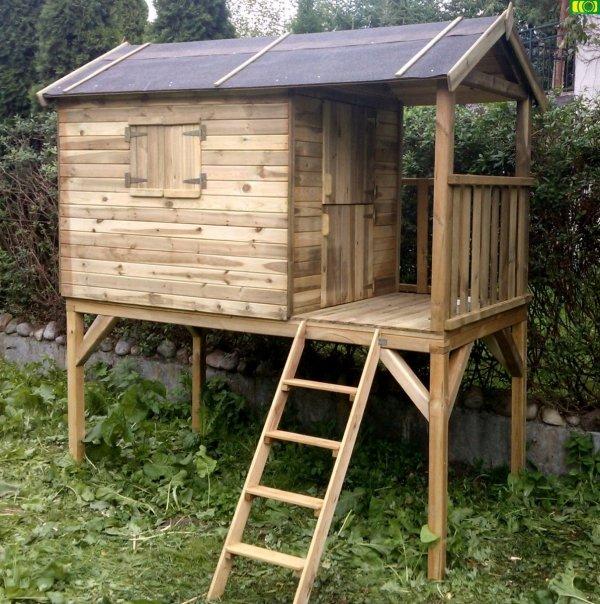 P01 drewniany domek dziecięcy