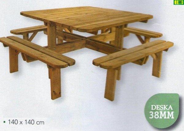 stół drewniany do ogrodu 8SET