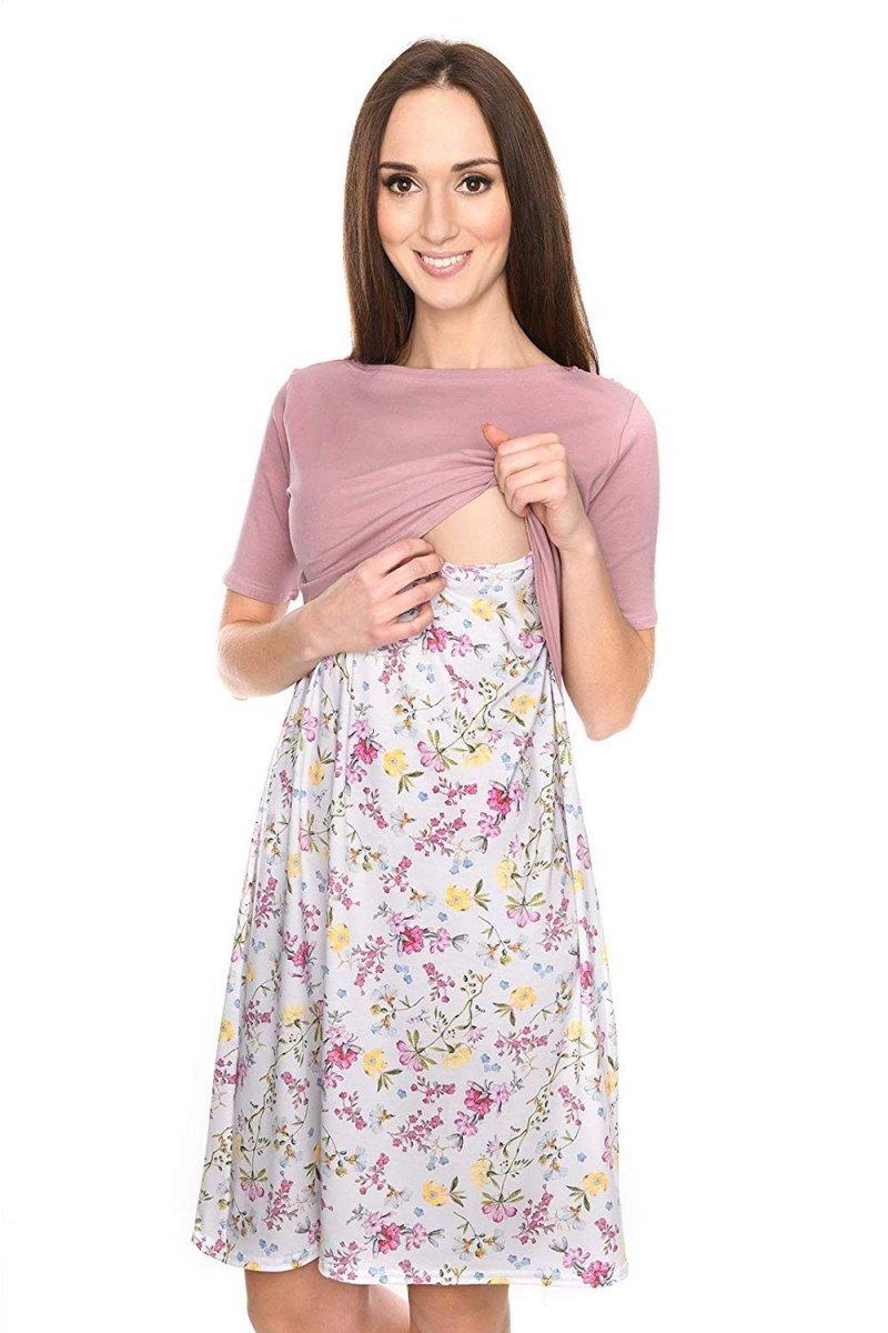 """Piękna sukienka 2 w 1 ciążowa i do karmienia """"Ali"""" róż/kwiaty"""