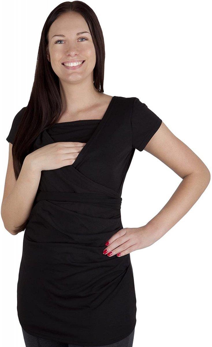 MijaCulture - bluzka z paskiem 2 w 1 ciążowa i do karmienia 4005/M17 czarny1