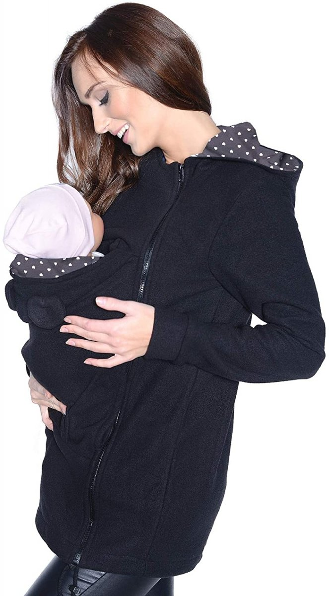 MijaCulture - polar do noszenia dziecka 3073A/ czarny/serca2