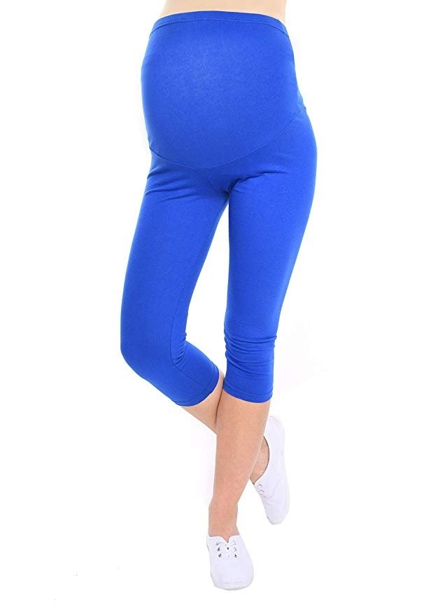 Komfortowe legginsy ciążowe 3/4 niebieskie
