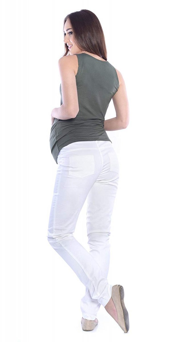 MijaCulture - spodnie rurki ciążowe 4007/M24 ecru