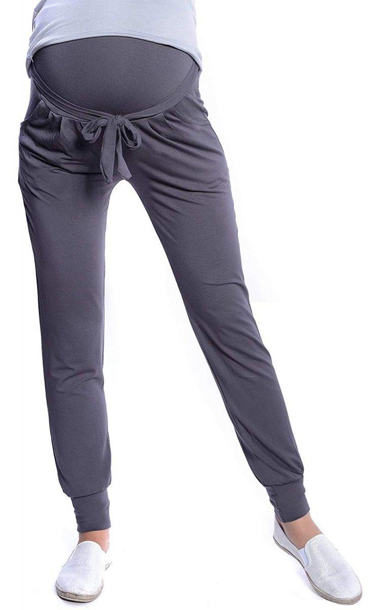 MijaCulture - spodnie alladynki ciążowe z panelem 4012/M33 grafit