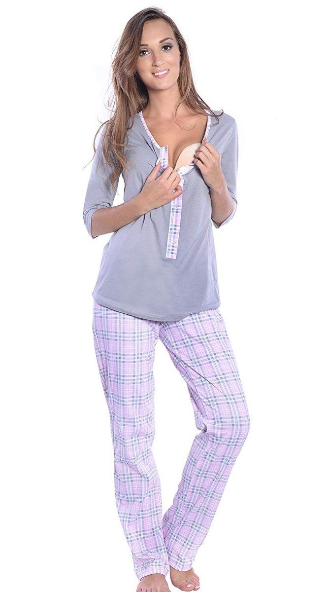 MijaCulture - 3 w 1 piżama ciążowa i do karmienia 4054/M52 szary/jasny róż