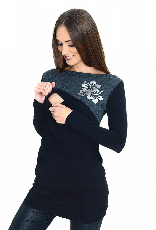 Praktyczna bluzka ciążowa i do karmienia Kwiaty 9088 czarny 2