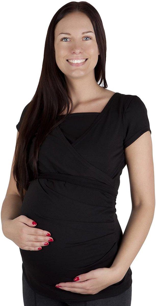 MijaCulture - bluzka z paskiem 2 w 1 ciążowa i do karmienia 4005/M17 czarny2