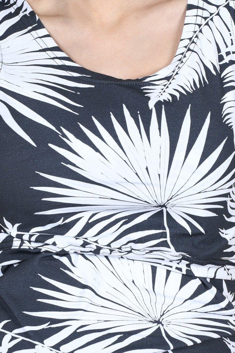 MijaCulture - top 2 w 1 ciążowy i do karmienia M005 Betty grafit/palmy