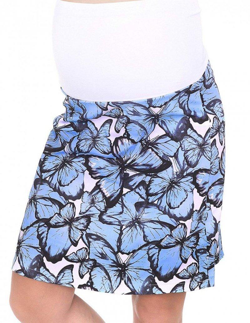 MijaCulture - spódnica ciążowa w kwiaty 1044/M64 niebieski