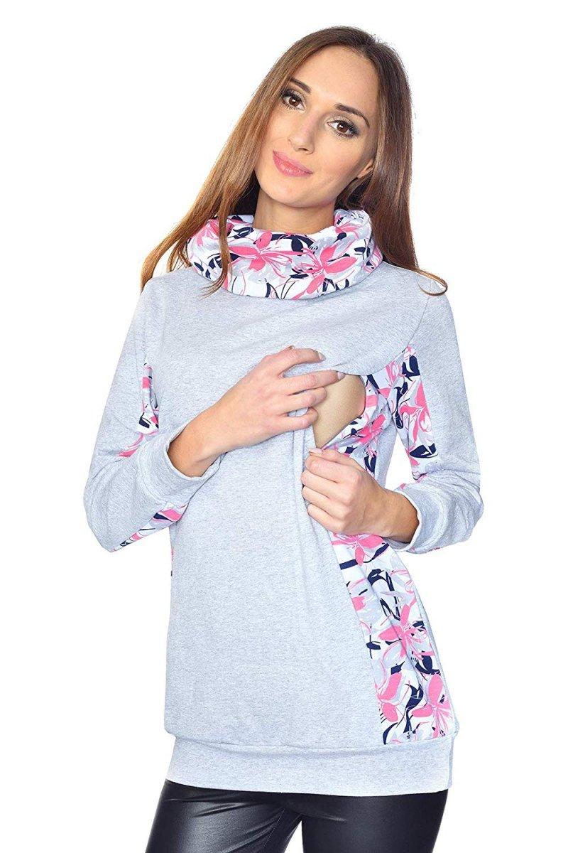 """MijaCulture - 3 w 1 bluza ciążowa i do karmienia """"Lucy"""" 7143 melanż"""