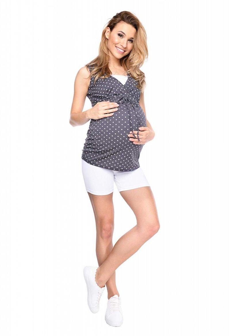 Wygodne krótkie legginsy ciążowe Mama Mia biały