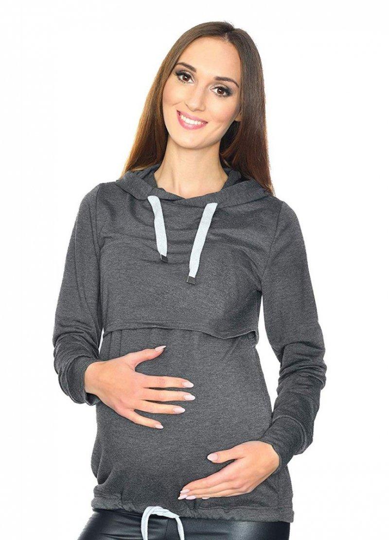 MijaCulture - 3 w 1 bluza ciążowa i do karmienia M68 4110 grafit