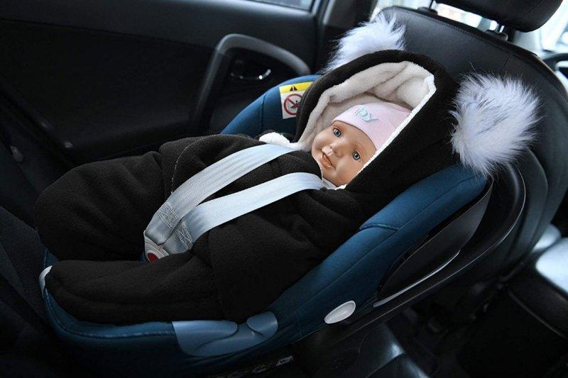 MijaCulture Polarowy otulacz do fotelika nosidła 4126 odpinane uszy czarny/biały3