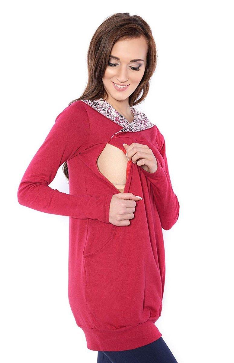 """MijaCulture - bluza 3 w 1 ciążowa i do karmienia z kapturem """"Mimi"""" 7102A bordo"""