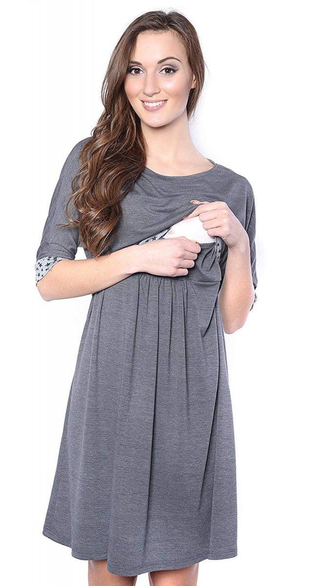 """MijaCulture - sukienka 2 w 1 ciążowa i do karmienia """"Daisy"""" 7131 szara"""