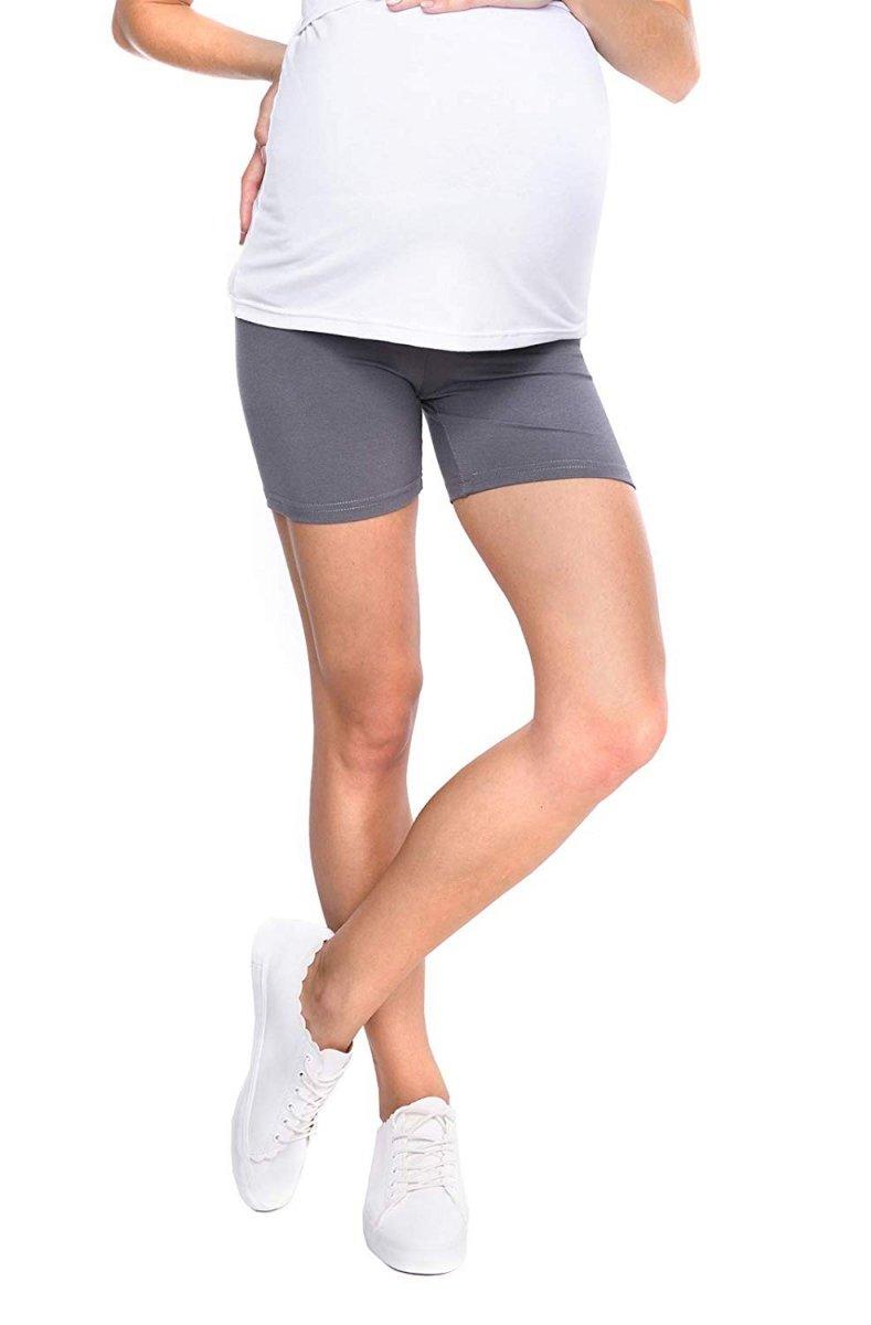 Wygodne krótkie legginsy ciążowe Mama Mia szary