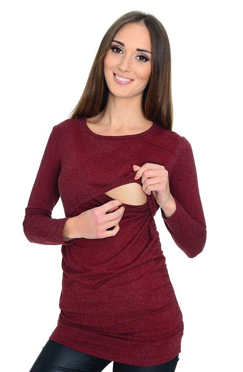 MijaCulture - bluzka 2 w 1 ciążowa i do karmienia długi rękaw M01/3070 burgund
