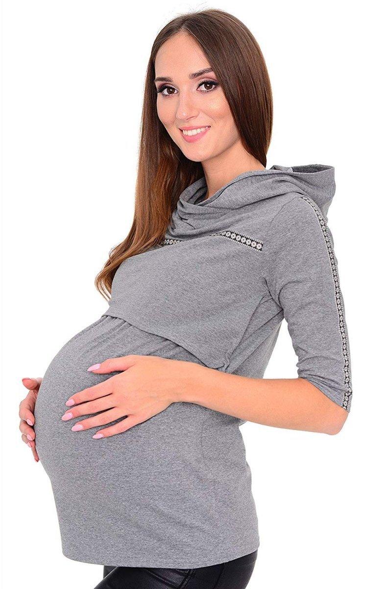 """MijaCulture – 3 w 1 bluza ciążowa i do karmienia """"Monica"""" 7134 szary"""