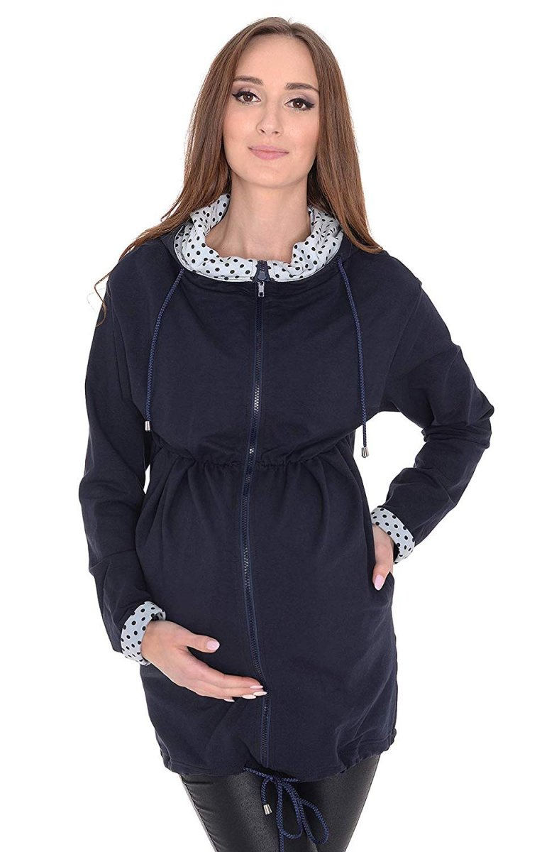 MijaCulture - bluza ciążowa 3 w1 / peleryna M62/4070 ciemny granat