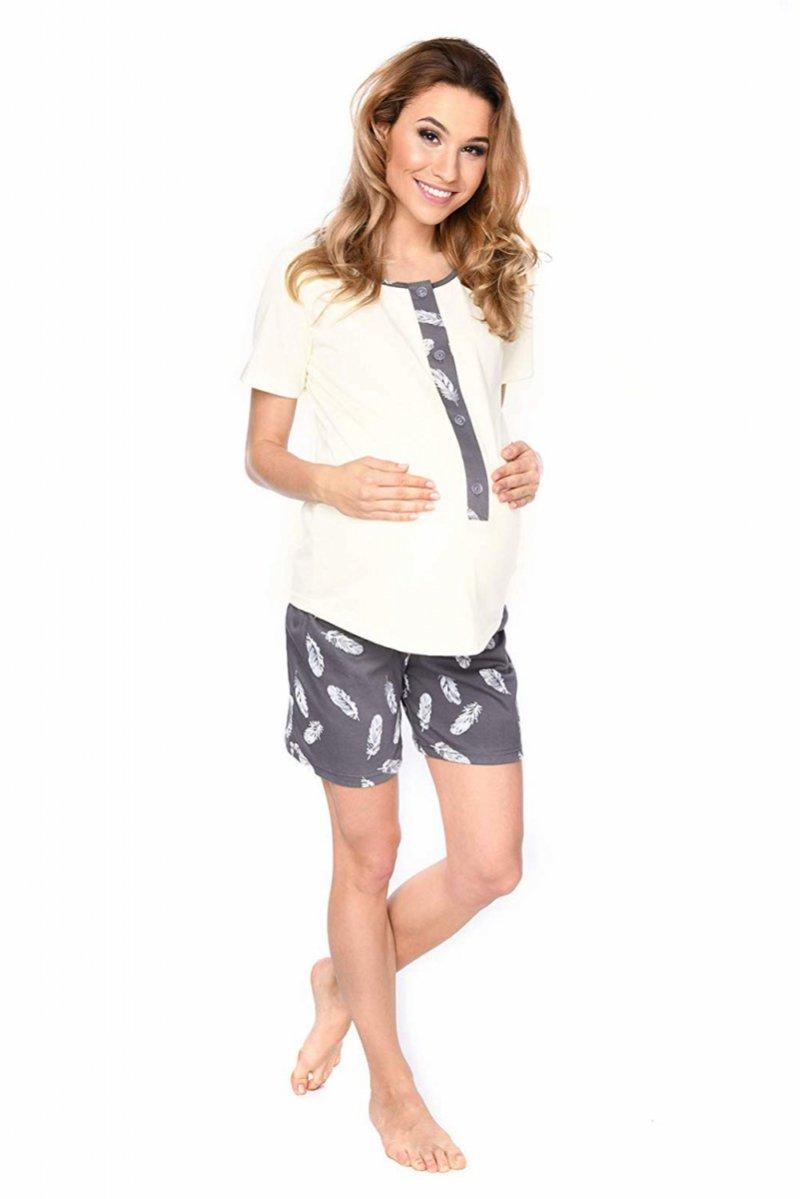 MijaCulture - 3 w 1 piżama ciążowa i do karmienia 4030/M47 kremowy