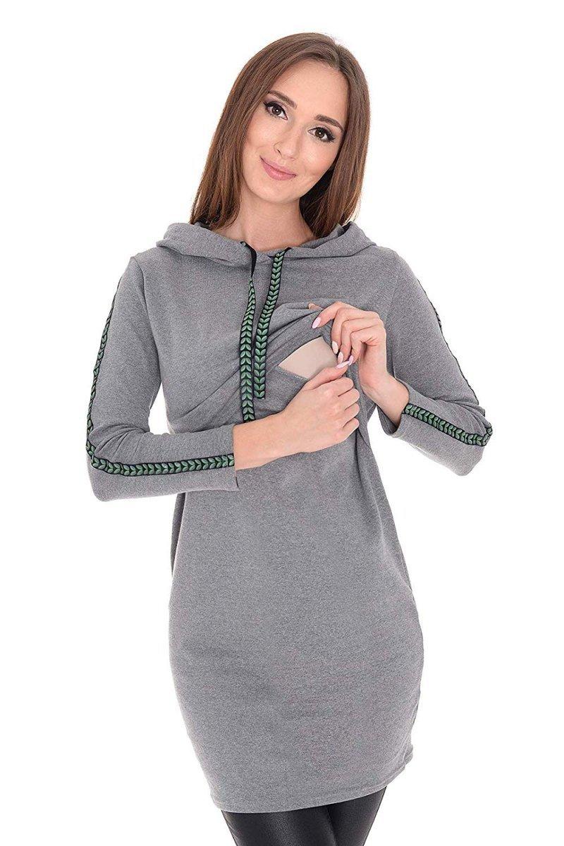 """MijaCulture - bluza 3 w 1 ciążowa i do karmienia z kapturem """"Melanie"""" 7136 melanż/zielony"""