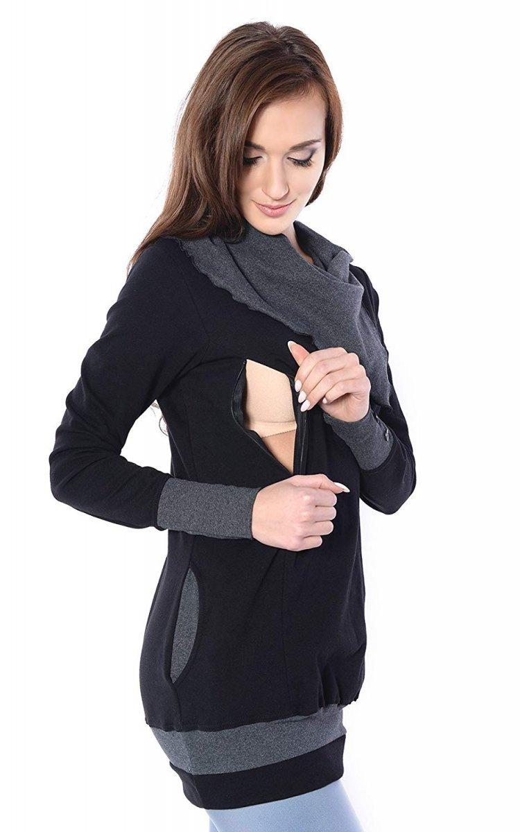 MijaCulture - bluza 3 w1 ciążowa  i do karmienia z asymetrycznym kołnierzem 4020/M05 czarny/grafit