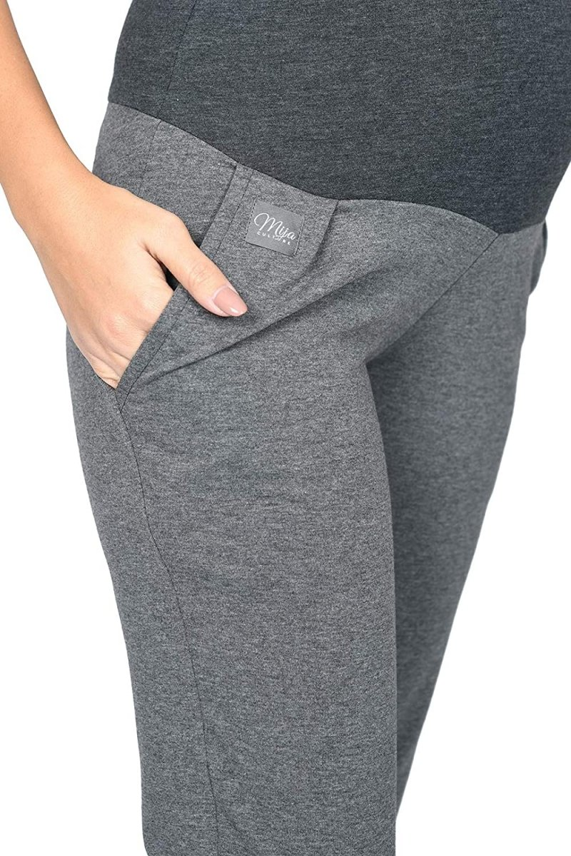 MijaCulture Wygodne spodnie dresowe ciążowe Coco M003 grafit4