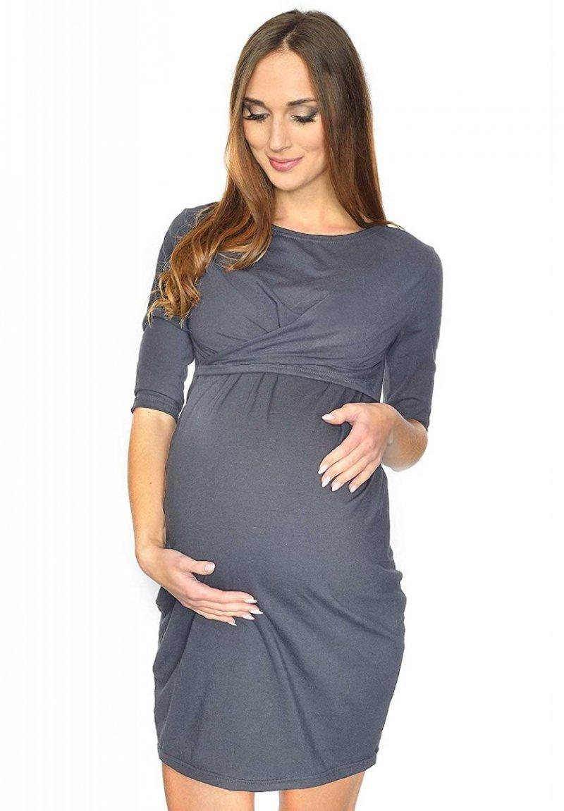 """Zjawiskowa sukienka ciążowa i do karmienia """"Una"""" 7142 szara"""