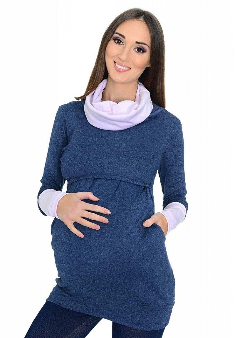 """MijaCulture - 3 w 1 bluza ciążowa i do karmienia """"Maddy"""" 7115 jeans/jasny róż"""