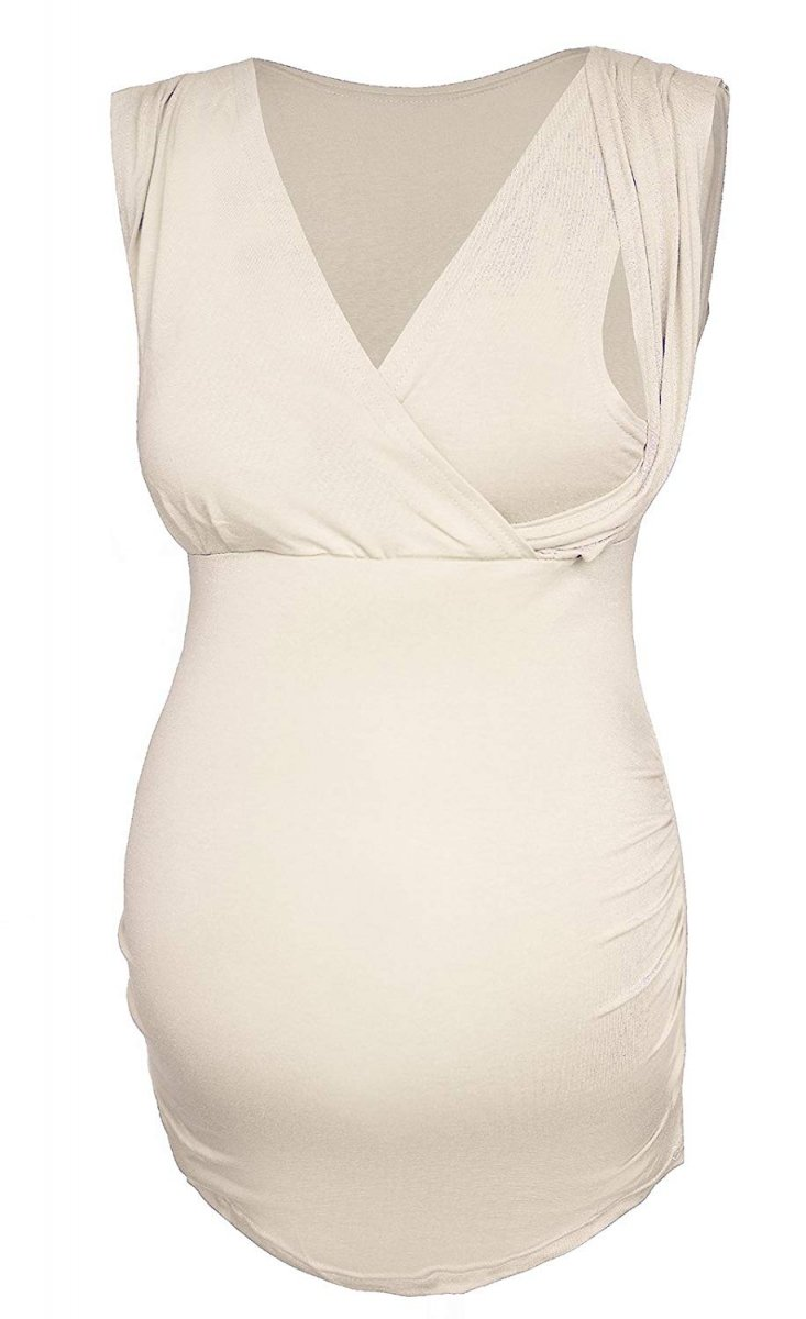 MijaCulture - elegancki top ciążowy i do karmienia 4013/M27 beż
